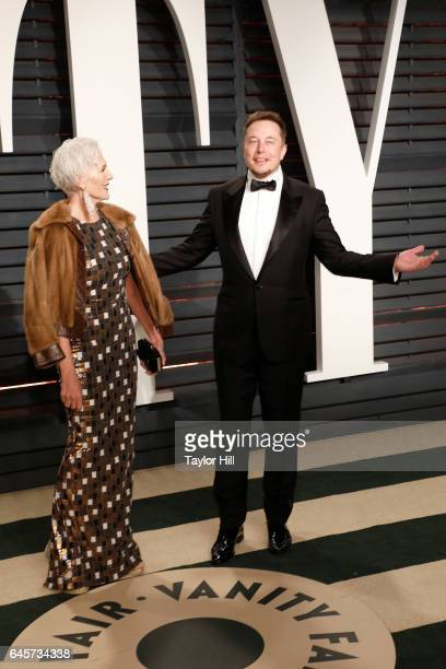 Maye Musk and SpaceX CEO Elon Musk attend 2017 Vanity Fair Oscar Party Hosted By Graydon Carter at Wallis Annenberg Center for the Performing Arts on...