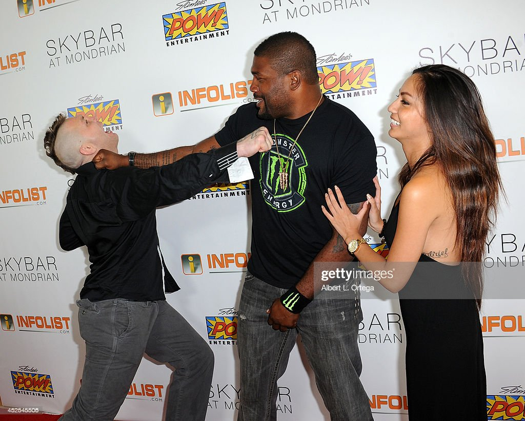 Mayhem Miller, Quinton 'Rampage' Jackson and Diana Tran at Infolist.com's Pre-Comic-Con Bash held at Skybar on July 17, 2014 in West Hollywood, California.