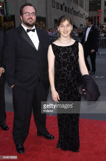 Mayim Bialik and husband Michael Stone during NBC 75th Anniversary at Rockefeller Plaza in New York City New York United States