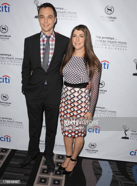 Mayim Bialik and Jim Parsons arrives at the Academy Of Television Arts Sciences' Performers Peer Group Cocktail Reception To Celebrate The 65th...