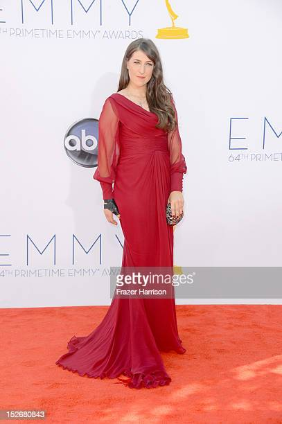 Mayim Bialik arrives at the 64th Annual Primetime Emmy Awards at Nokia Theatre LA Live on September 23 2012 in Los Angeles California
