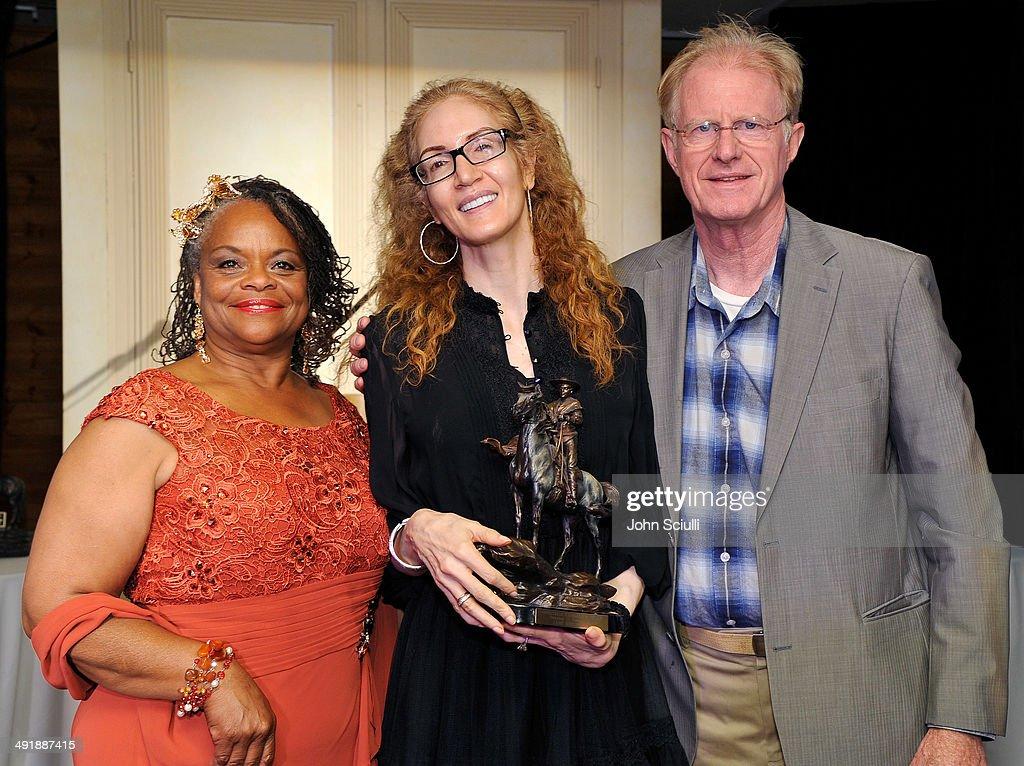Mayisha Akbar, Jami Morse Heidegger and Ed Begley Jr. attend Compton Jr. Posse 7th annual fundraiser gala at The Los Angeles Equestrian Center on May 17, 2014 in Burbank, California.