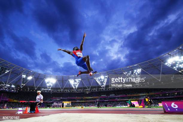 Maykel Masso of Cuba competes in the Men's Long Jump final during day two of the 16th IAAF World Athletics Championships London 2017 at The London...