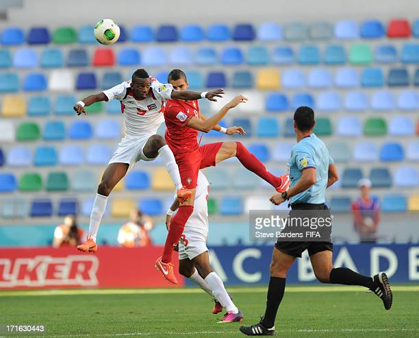 Maykel Reyes of Cuba wins a header from Tiago Ilori of Portugal during the FIFA U20 World Cup Group B match between Portugal and Cuba at Kadir Has...