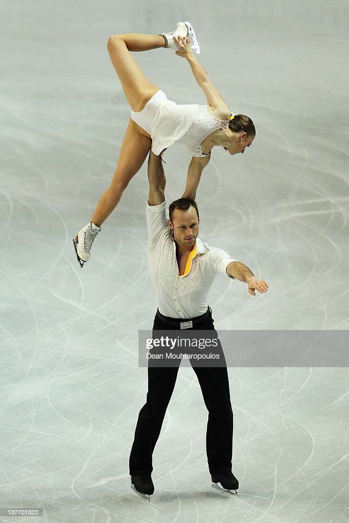 Maylin Hausch and <a gi-track='captionPersonalityLinkClicked' href=/galleries/search?phrase=Daniel+Wende&family=editorial&specificpeople=2089493 ng-click='$event.stopPropagation()'>Daniel Wende</a> of Germany preform in the Pairs Short Program during the ISU European Figure Skating Championships at Motorpoint Arena on January 25, 2012 in Sheffield, England..