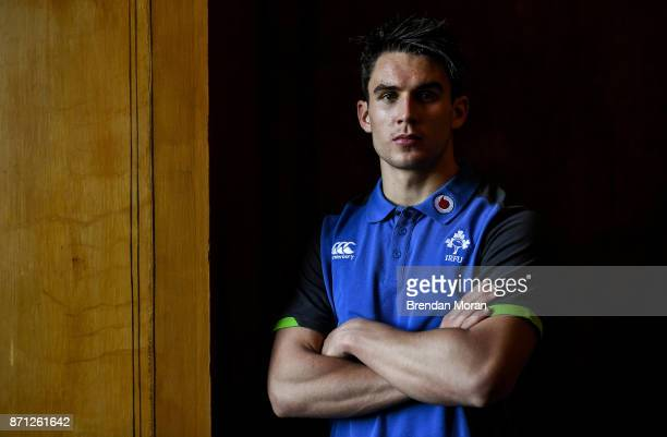 Maynooth Ireland 7 November 2017 Joey Carbery poses for a portrait after an Ireland rugby press conference at Carton House in Maynooth Kildare