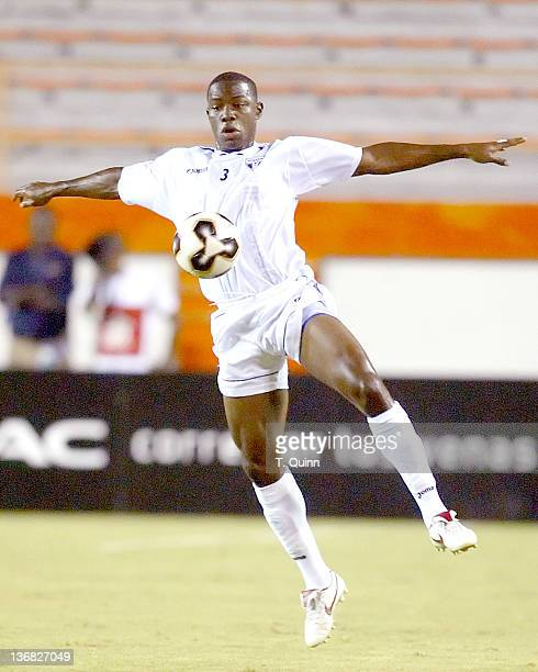 Maynor Figueroa of Honduras chests the ball during a match at the Orange Bowl Miami Florida July 7 2005 The game ended in a 11 tie