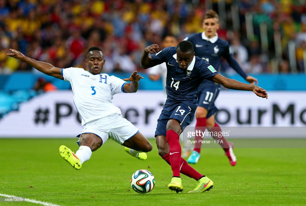 Maynor Figueroa of Honduras tries to block the shot of Blaise Matuidi of France during the 2014 FIFA World Cup Brazil Group E match between France and Honduras at Estadio Beira-Rio on June 15, 2014 in Porto Alegre, Brazil.