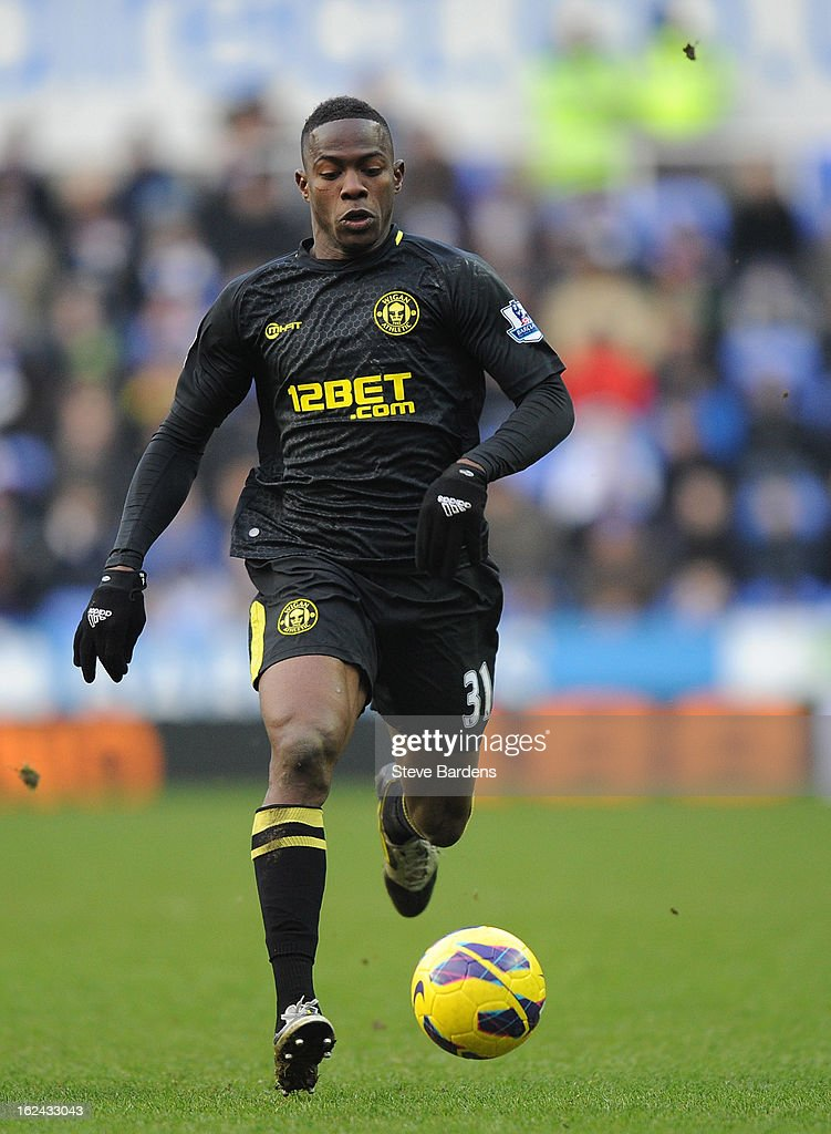 <a gi-track='captionPersonalityLinkClicked' href=/galleries/search?phrase=Maynor+Figueroa&family=editorial&specificpeople=882234 ng-click='$event.stopPropagation()'>Maynor Figueroa</a> of Wigan Athletic in action during the Barclays Premier League match between Reading and Wigan Athletic at Madejski Stadium on February 23, 2013 in Reading, England.