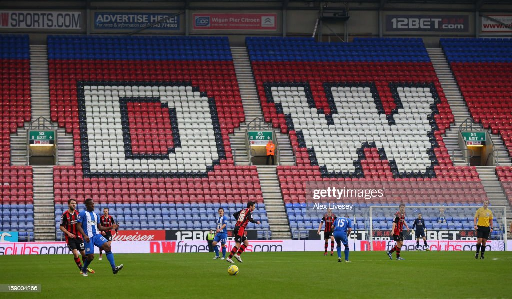 Maynor Figueroa of Wigan Athletic passes the ball as an empty stand is seen during the Budweiser FA Cup Third Round match between Wigan Athletic and AFC Bournemouth at DW Stadium on January 5, 2013 in Wigan, England.