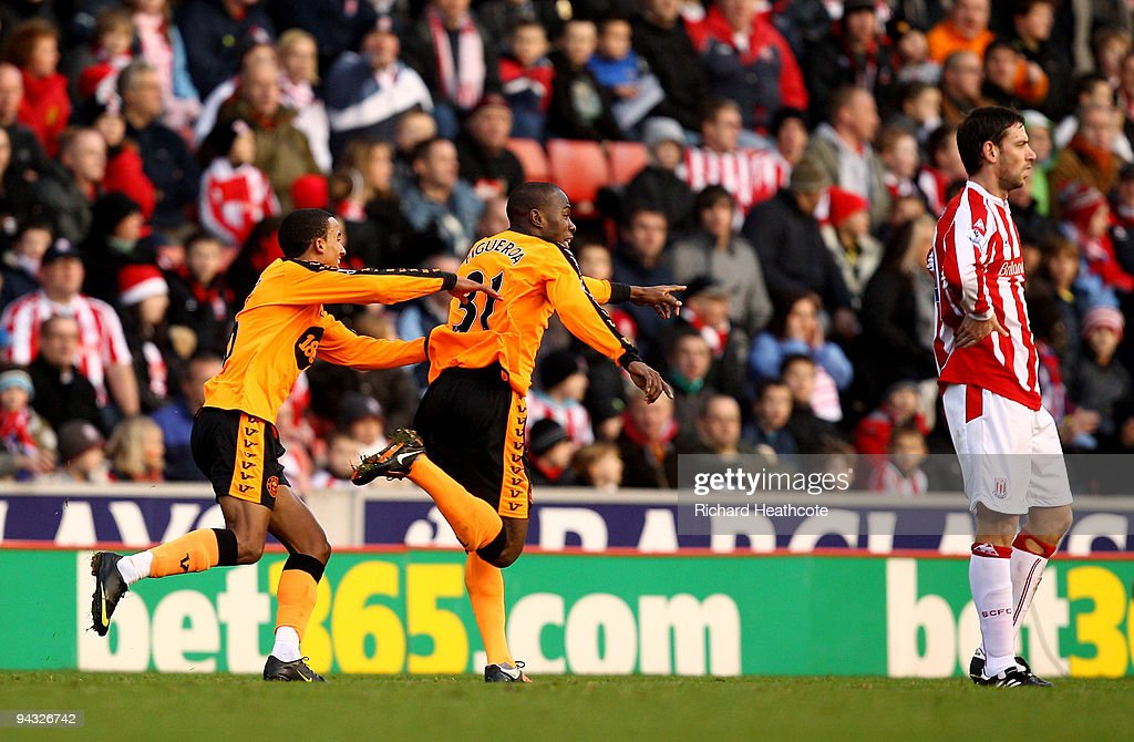 Maynor Figueroa of Wigan celebrates scoring a long range goal during the Barclays Premier League match between Stoke City and Wigan Athletic at the...