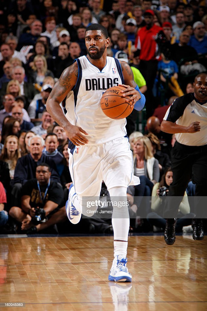O.J. Mayo #32 of the Dallas Mavericks brings the ball up court against the San Antonio Spurs on January 25, 2013 at the American Airlines Center in Dallas, Texas.