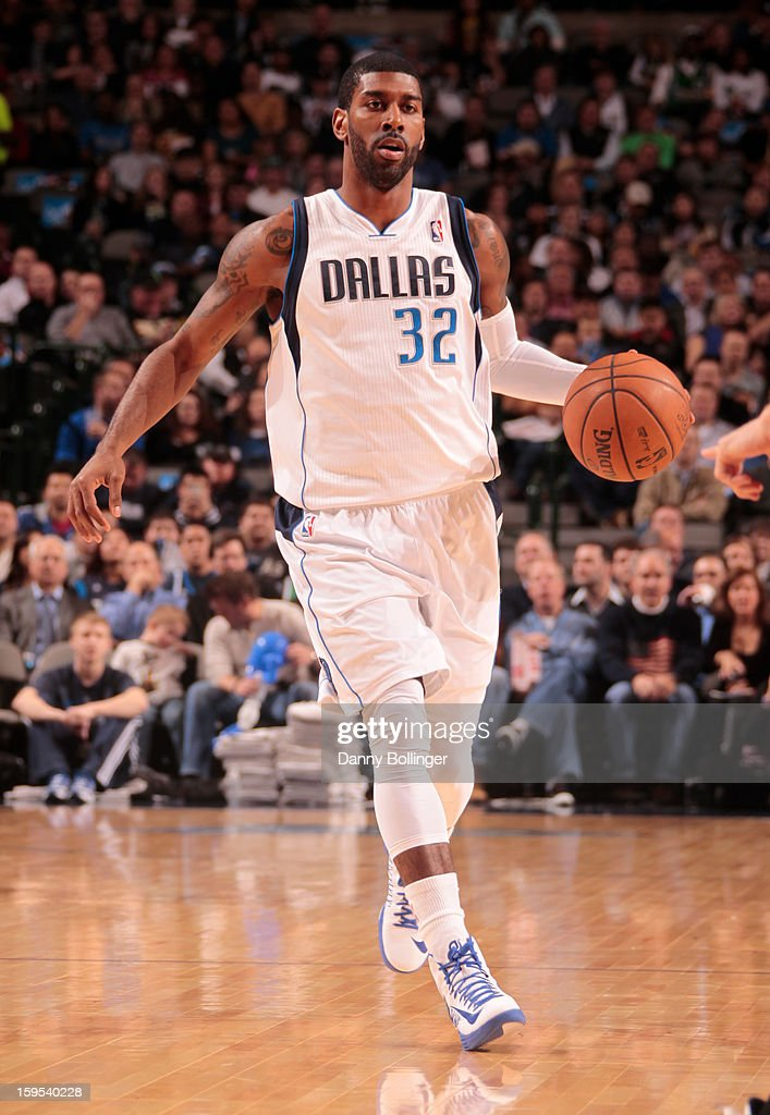 O.J. Mayo #32 of the Dallas Mavericks brings the ball up the court against the Minnesota Timberwolves on January 14, 2013 at the American Airlines Center in Dallas, Texas.