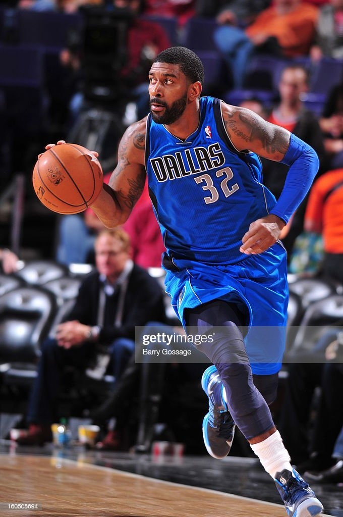O.J. Mayo #32 of the Dallas Mavericks brings the ball upcourt against the Phoenix Suns on February 1, 2013 at U.S. Airways Center in Phoenix, Arizona.
