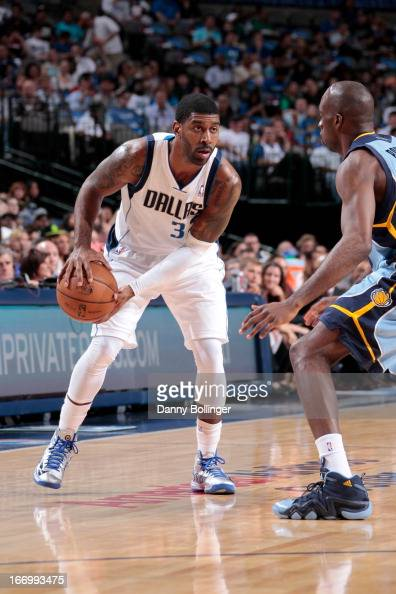 J Mayo of the Dallas Mavericks handles the ball against Quincy Pondexter of the Memphis Grizzlies on April 15 2013 at the American Airlines Center in...