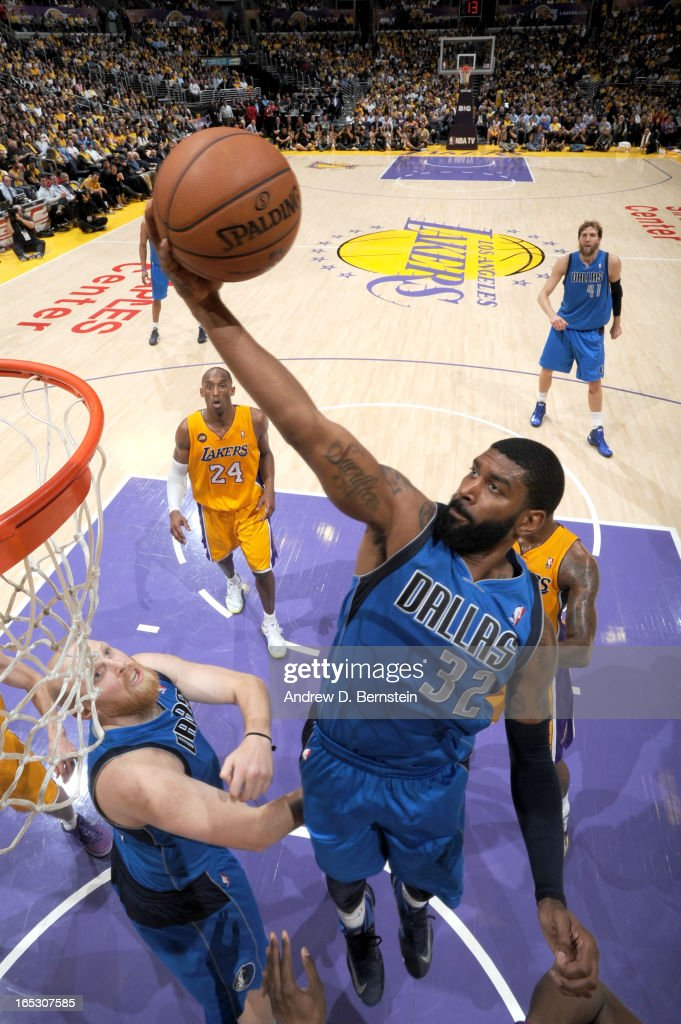O.J. Mayo #32 of the Dallas Mavericks puts up a shot against the Los Angeles Lakers at Staples Center on April 2, 2013 in Los Angeles, California.