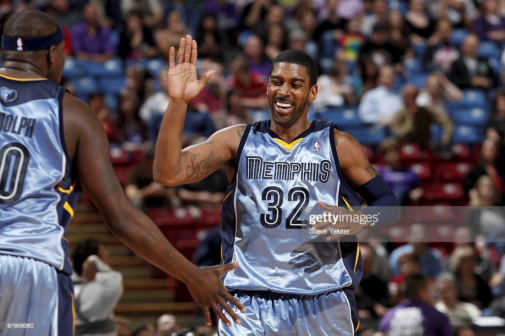 OJ Mayo #32 of the Memphis Grizzlies celebrates after hitting a three point basket against the Sacramento Kings on March 22, 2010 at ARCO Arena in Sacramento, California.