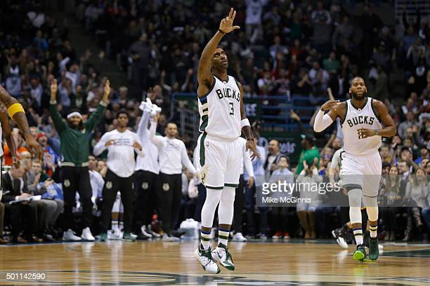 J Mayo of the Milwaukee Bucks celebrates after making a three pointer during the first quarter against the Golden State Warriors at BMO Harris...
