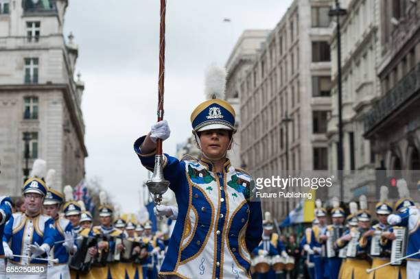 Mayobridge marching band takes part in the annual St Patricks Day parade on March 19 2017 in London England Many London Irish communities performers...