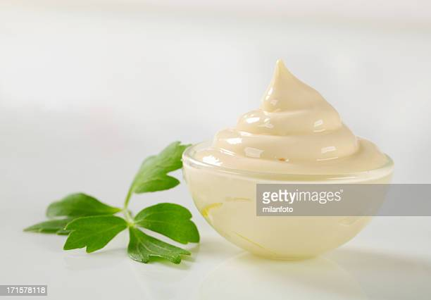 Mayonnaise in a glass bowl