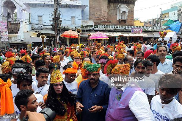 Mayor Alok Sharma participates in the procession taken out on the occasion of Krishna Janmashtami on August 25 2016 in Bhopal India Janmashtami is...