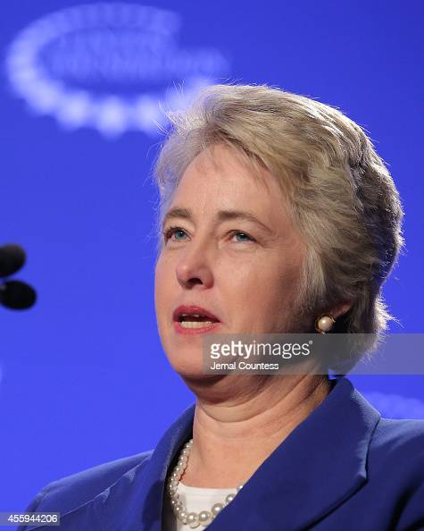 Mayor Annise Parker of Houston speaks at a press conference on 'Mayor's National Climate Change Action Agenda during the second day of the Clinton...