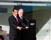 Mayor Antonio Villaraigosa and Councilman Paul Krekorian attend the unveiling of WET's new facility at Idea Playground on January 14 2010 in Sun...