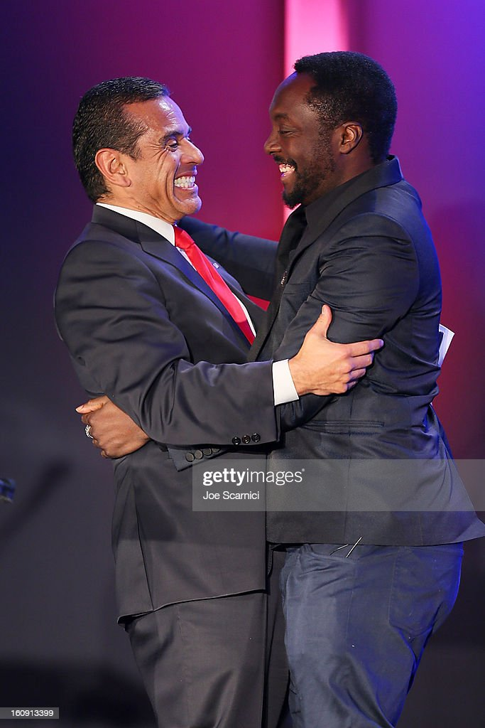 Mayor <a gi-track='captionPersonalityLinkClicked' href=/galleries/search?phrase=Antonio+Villaraigosa&family=editorial&specificpeople=178925 ng-click='$event.stopPropagation()'>Antonio Villaraigosa</a> and will.i.am attend <a gi-track='captionPersonalityLinkClicked' href=/galleries/search?phrase=Will.I.Am&family=editorial&specificpeople=203050 ng-click='$event.stopPropagation()'>Will.I.Am</a>'s annual TRANS4M Day Conference focusing on TRANS4Ming America in 2013 on February 7, 2013 in Los Angeles, California.