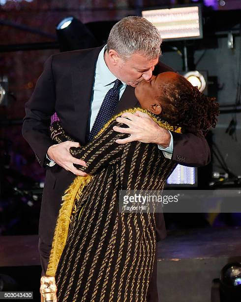 Mayor Bill de Blasio and first lady Chirlane McCray share a midnight kiss at Times Square on January 1 2016 in New York City
