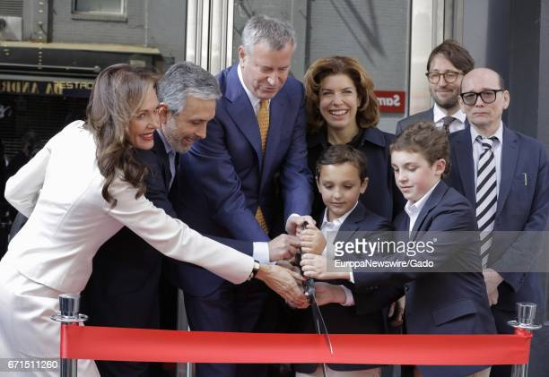 Mayor Bill de Blasio and MOME Commissioner Julie Menin attend a ribboncutting ceremony for the relaunch of the Quad Cinema in Greenwich Village New...