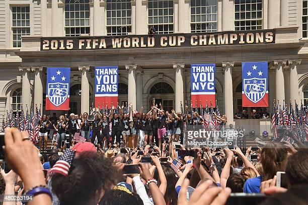 Mayor Bill de Blasio celebrates the Champions US Women's Soccer National Team at a City Hall ceremony following a New York City Ticker Tape Parade...
