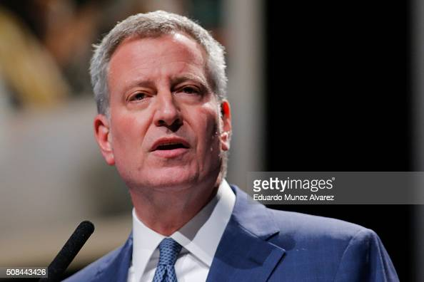 Mayor Bill De Blasio gives his annual State of the City address at Lehman Center for the Performing Arts Concert Hall on February 4 2016 in New York...