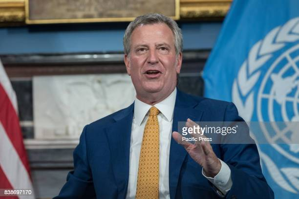 Mayor Bill de Blasio is seen making remarks during remarks during the photo op Following a meeting between New York City Mayor de Blasio and United...