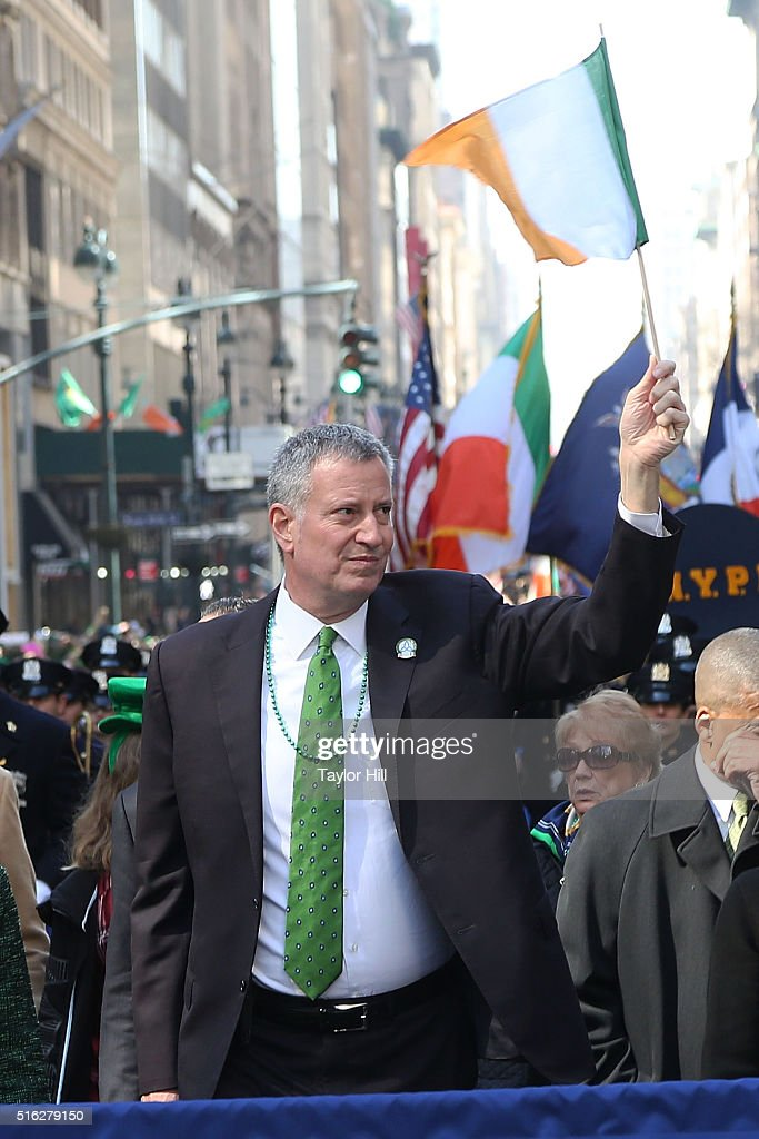 Mayor Bill de Blasio marches up 5th Avenue during the 2016 St. Patrick's Day Parade on March 17, 2016 in New York City.