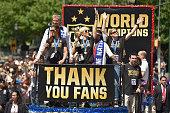 Mayor Bill de Blasio Soccer players Carli Lloyd and Megan Rapinoe Chirlane McCray and US coach Jill Ellis in the New York City Ticker Tape Parade for...