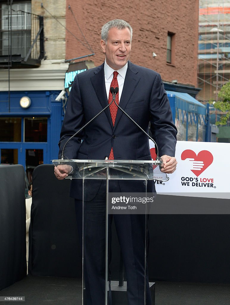 Mayor <a gi-track='captionPersonalityLinkClicked' href=/galleries/search?phrase=Bill+de+Blasio&family=editorial&specificpeople=6224514 ng-click='$event.stopPropagation()'>Bill de Blasio</a> speaks onstage during the celebration of God's Love We Deliver returning to Soho with a dedication of the new Michael Kors building on June 9, 2015 in New York City.