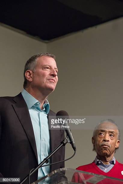 Mayor Bill de Blasio speaks to the attendees of the NAN holiday meal New York City Mayor Bill de Blasio and his daughter Chiara joined Reverend Al...
