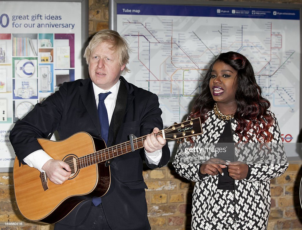 Mayor Boris Johnson and <a gi-track='captionPersonalityLinkClicked' href=/galleries/search?phrase=Misha+B&family=editorial&specificpeople=8522727 ng-click='$event.stopPropagation()'>Misha B</a> attend the launch photocall for Gig 2013 on March 26, 2013 in London, England.