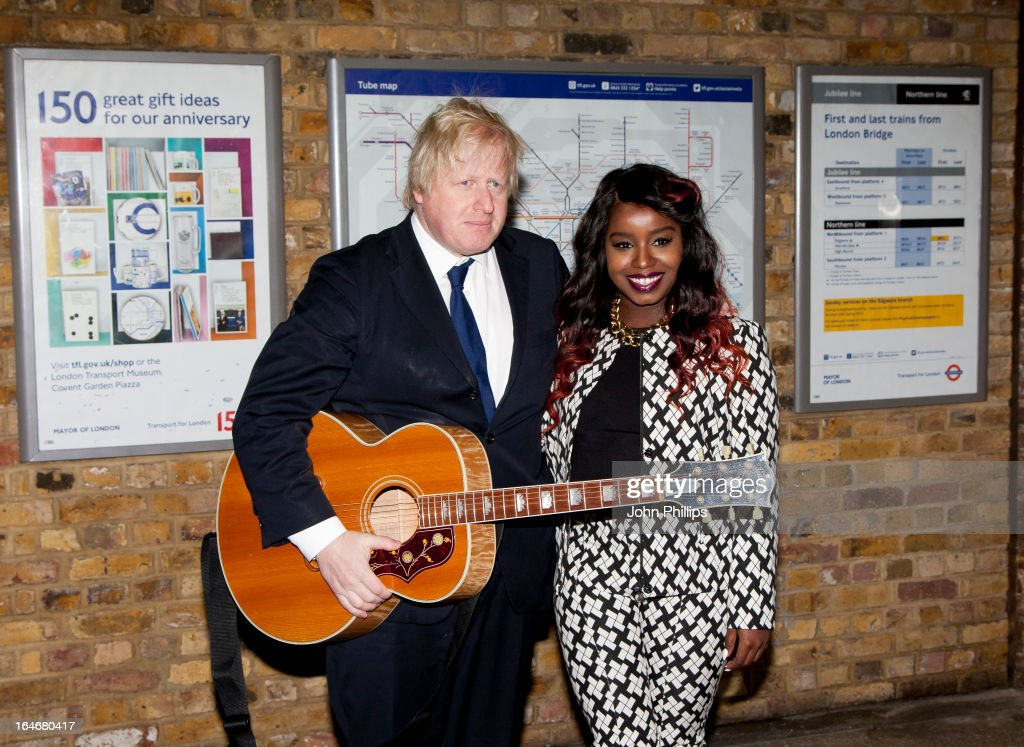 Mayor Boris Johnson and Misha B attend the launch photocall for Gig 2013 on March 26 2013 in London England