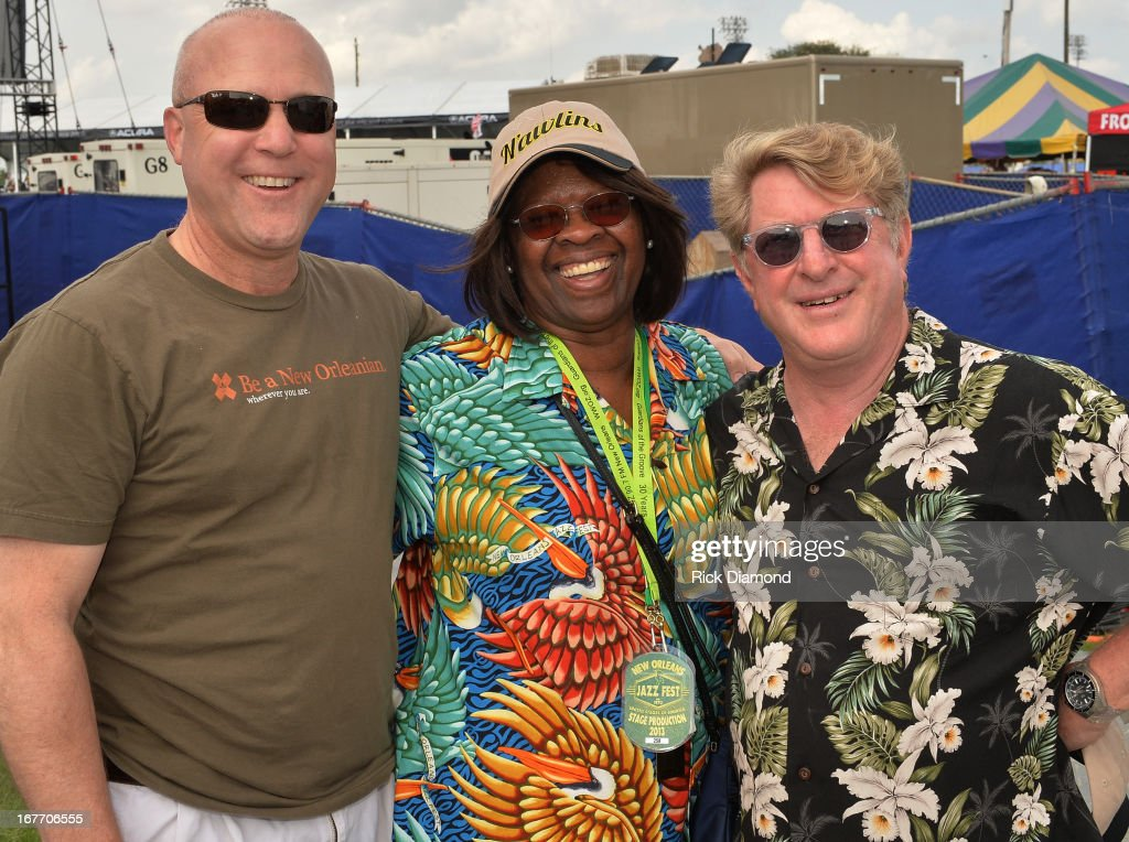 Mayor city of New Orleans Mitch Landrieu, Recording Artist <a gi-track='captionPersonalityLinkClicked' href=/galleries/search?phrase=Irma+Thomas&family=editorial&specificpeople=646317 ng-click='$event.stopPropagation()'>Irma Thomas</a> and Festival Promoter Quint Davis backstage during the 2013 New Orleans Jazz & Heritage Music Festival at Fair Grounds Race Course on April 27, 2013 in New Orleans, Louisiana.
