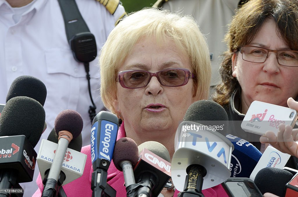 Mayor Colette RoyLaroche holds a press conference July 9 2013 in Lacmegantic Quebec Canada to announce that displaced residents would be able to...