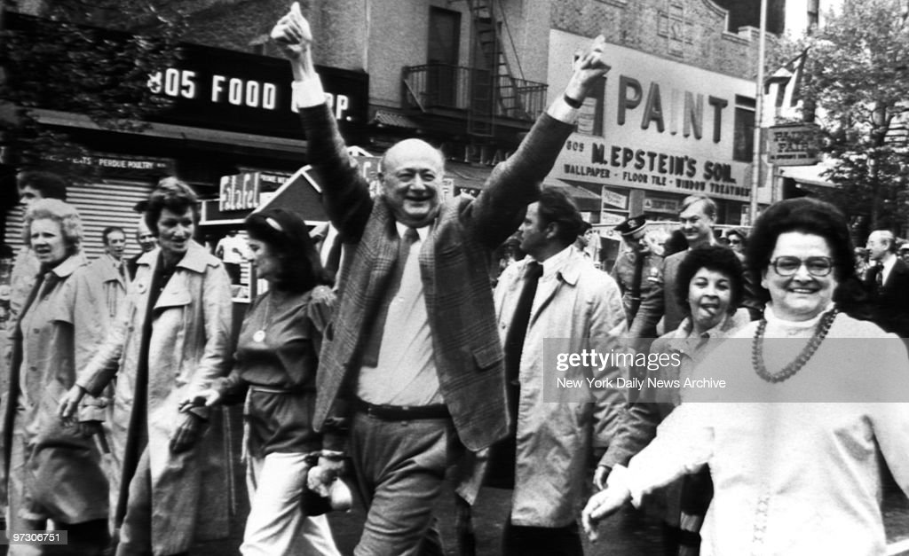 Mayor Ed Koch waves to New Yorkers at 9th Avenue Food Festival.
