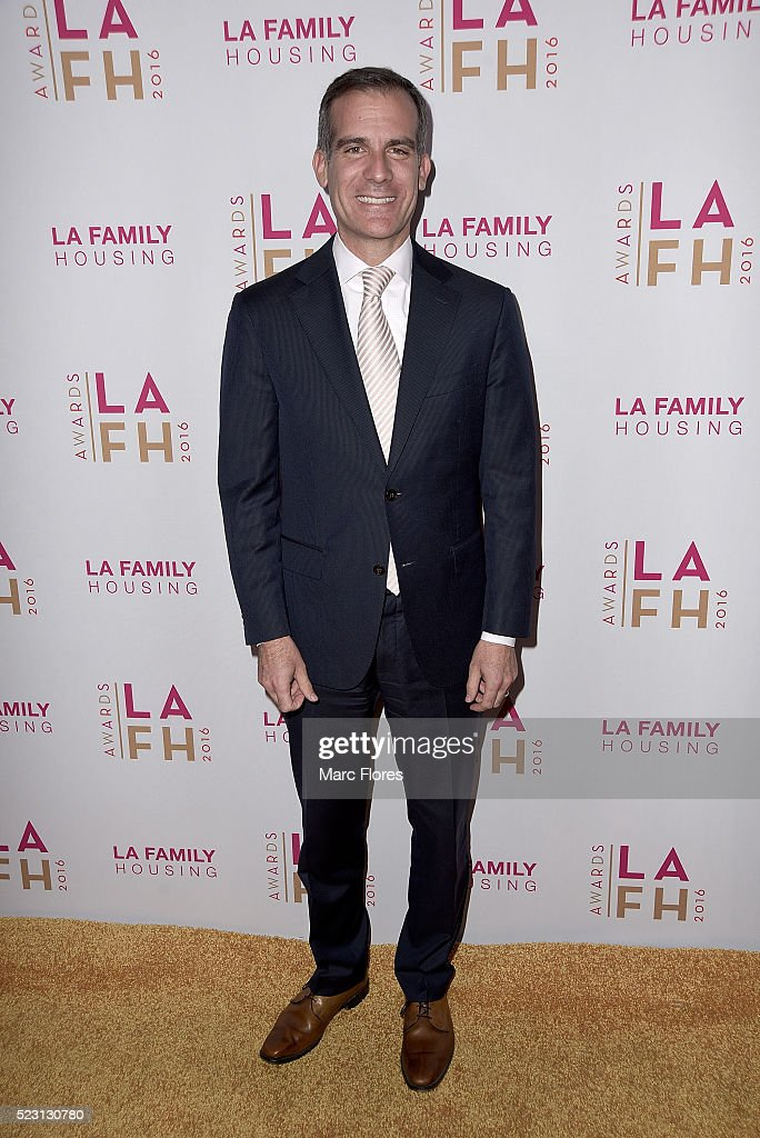 Mayor <a gi-track='captionPersonalityLinkClicked' href=/galleries/search?phrase=Eric+Garcetti&family=editorial&specificpeople=635706 ng-click='$event.stopPropagation()'>Eric Garcetti</a> arrives at LA Family Housing's Annual Awards 2016 at The Lot on April 21, 2016 in West Hollywood, California.