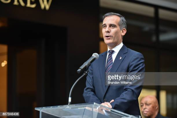 Mayor Eric Garcetti speaks during the grand opening of the Westfield Century City mall at Westfield Century City on October 3 2017 in Century City...