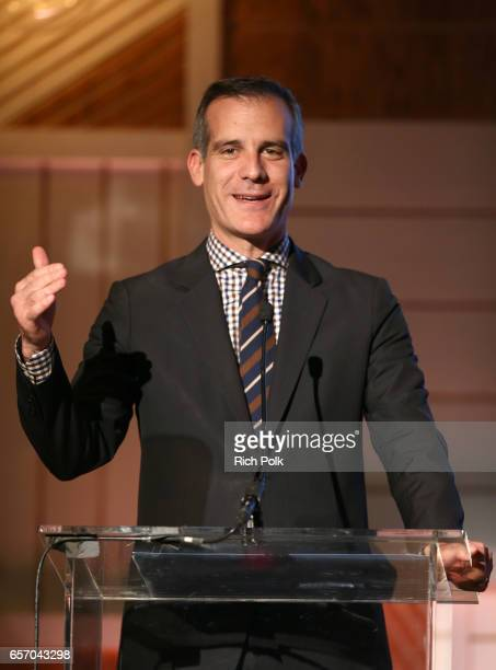 Mayor Eric Garcetti speaks onstage during the EMA IMPACT Summit hosted by the Environmental Media Association presented by Toyota Mirai and Calvert...