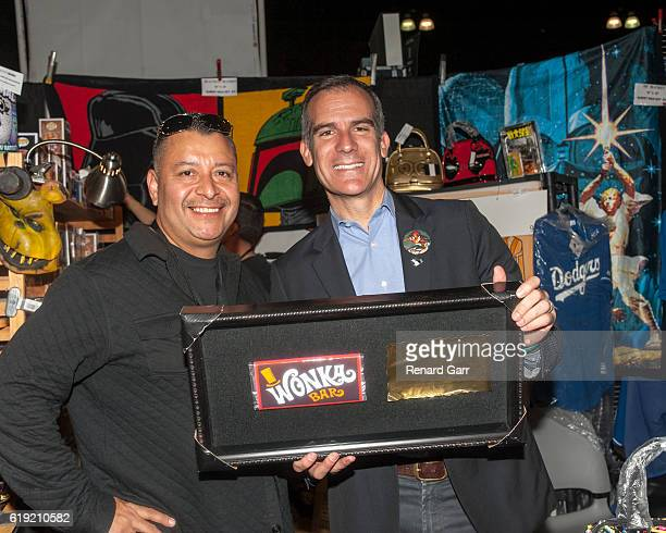 Mayor Eric Garcetti with the golden ticket at Los Angeles Convention Center on October 29 2016 in Los Angeles California