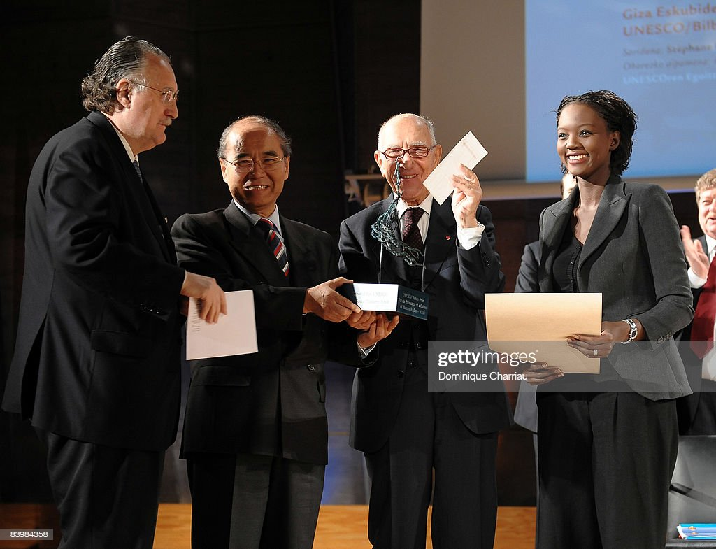 Mayor Inaki Azkuna of Bilbao, Director General Koichiro Matsuuraof UNESCO, Laureate for the UNESCO/Bilbao Prize for the Promotion of a Culture of Human Rights Stephane Hessel and French Secretary of State for Foreign Affairs and Human Rights Rama Yade during the award ceremony of the UNESCO/Bilbao Prize for the Promotion of a Culture of Human Rights on December 10, 2008 in Paris, France.
