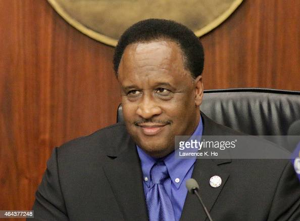 FEB 24 2015 Mayor James T Butts Jr in Council Chamber at Inglewood City Hall on Feb 24 2015 The Inglewood City Council meet to discuss a measure that...