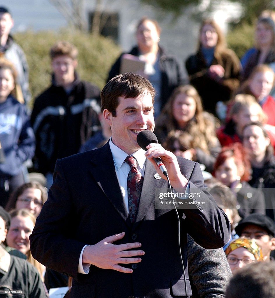 Mayor Jason West talks to the media and crowd of hundreds before officiating an afternoon of same sex weddings at the New Paltz Village Hall February...