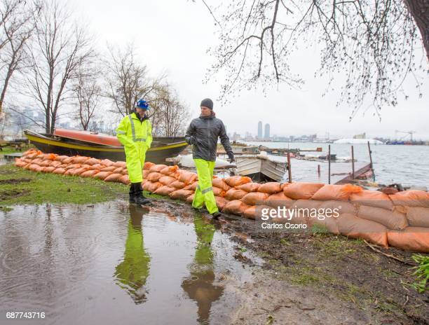 TORONTO ON MAY 5 Mayor John Tory walked with manager of waterfront parks James Dann along Wards Island Toronto Mayor John Tory visited the Wards...